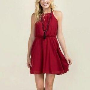 Francesca's Miami Lauretta Burgundy Dress NWT